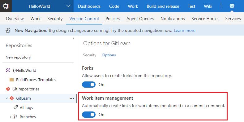 vsts work item options