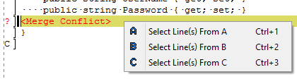 kdiff3 resolving conflict in selected line