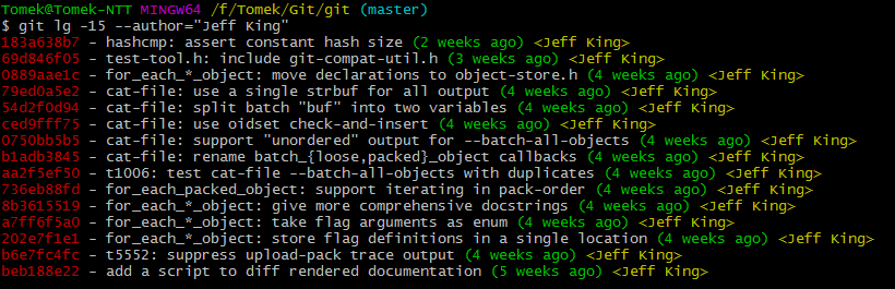git log --author