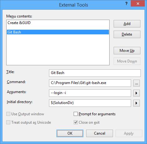 visual studio external tools